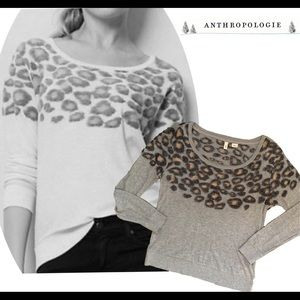 Anthropologie Gray Moth Leopard Print Sweater